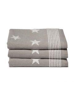 Seahorse Badgoed Stardust, sterren kleur taupe  zachte badstof, badlaken 60x110, 100% katoen