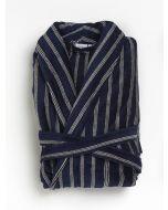 Badjas Heren blauw met 3 smalle streepjes , velours 100% katoen SPECIALE PRIJS