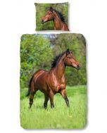 Dekbedovertrek Paard bruin  140x200/220 incl sloop 60x70